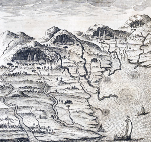 3. Where Rivers Come From. The action of the wind causes the sea to form whirlpools, driving the water inland through underground channels. These disgorge in huge caverns beneath the mountains, whence the water issues as rivers and returns to the sea. (Mundus Subterraneus, 1665, I, 254)