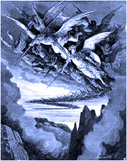 Azazel leading the rebel angels