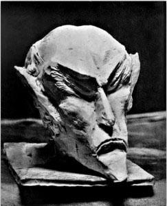 Ahriman's head carved in wood by Rudolf Steiner