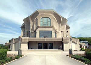 'Rudolf Steiner', Dweller on the Threshold Front-view-of-the-Goetheanum-in-the-Swiss-town-of-Dornach-the-seat-of-the-General-Anthroposophical-Society-